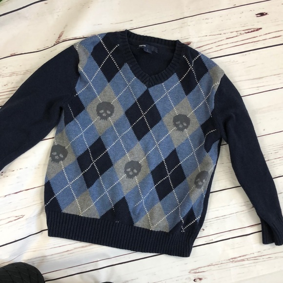 GAP Boys Argyle Full Sleeve Sweater Navy Blue Green and White Size 3-4